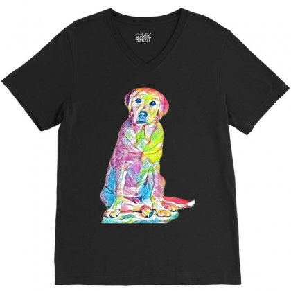 Labrador Retriever Fond Blanc V-neck Tee Designed By Kemnabi