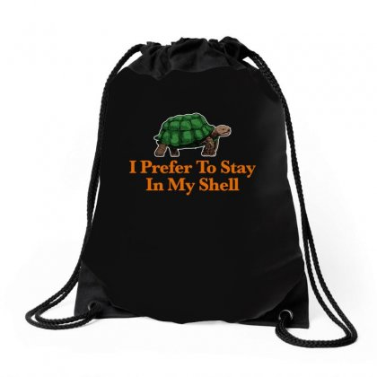 I Prefer To Stay In My Shell For Dark Drawstring Bags Designed By Hasret