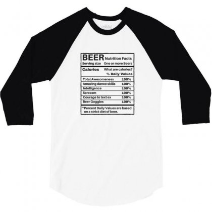 Nutrition Facts 3/4 Sleeve Shirt Designed By Disgus_thing