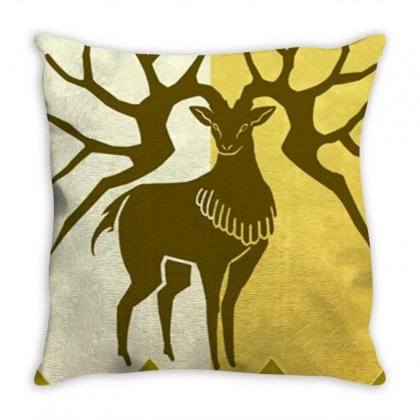 Golden Deer Merch Throw Pillow Designed By Ariepjaelanie
