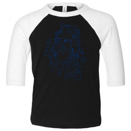 Born To Be A Wolf Toddler 3/4 Sleeve Tee Designed By Specstore
