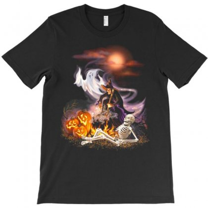 Pumpkin Boos And Halloween Witches T-shirt Designed By Amber Petty