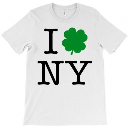 I Love Ny Shamrock T-shirt Designed By Leodrolic