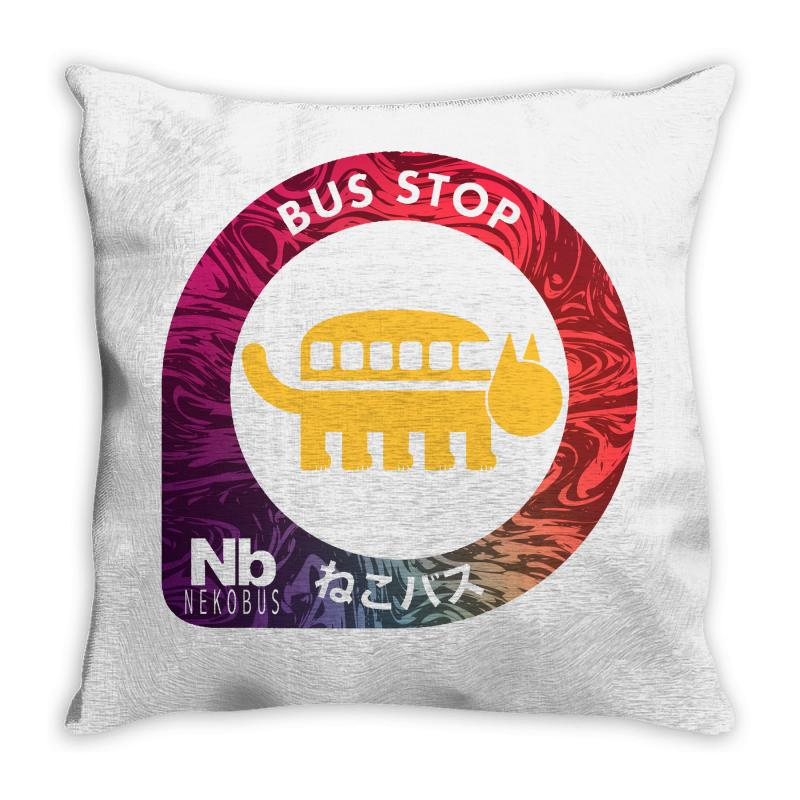 Neko Bus Stop Throw Pillow | Artistshot