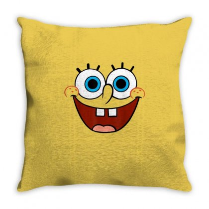 Spongebob Squarepants Large Smiling Face Throw Pillow Designed By Amber Petty