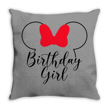 Birthday Girl Minnie Mouse For Light Throw Pillow Designed By Seda