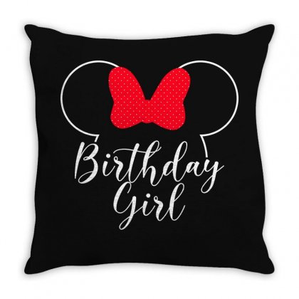 Birthday Girl Minnie Mouse For Dark Throw Pillow Designed By Seda