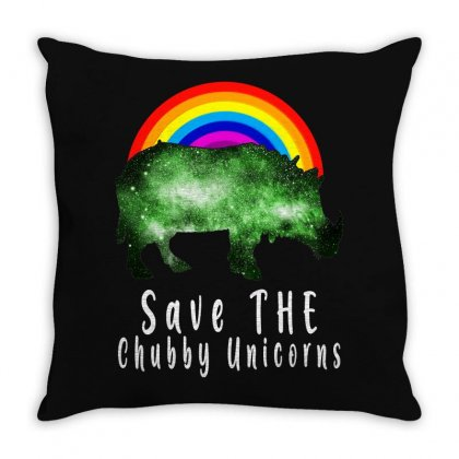 Save The Chubby Unicorns For Dark Throw Pillow Designed By Gurkan
