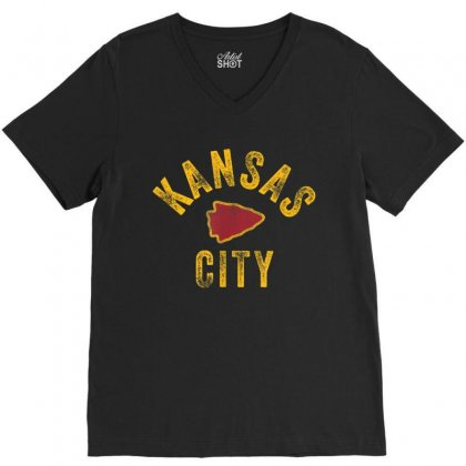 Kansas City Vintage Arrowhead Kc Fan Local V-neck Tee Designed By Amber Petty