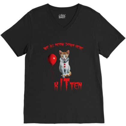 We All Meow Down Here Clown Kitten Halloween V-neck Tee Designed By Kakashop