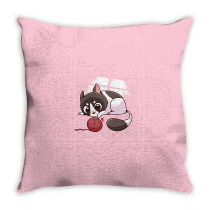 Cute Cat Playing Throw Pillow Designed By Disgus_thing