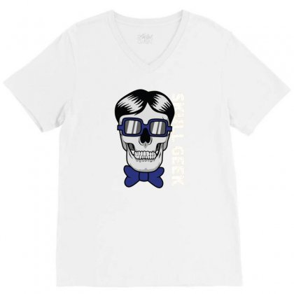 Skull Geek V-neck Tee Designed By Disgus_thing