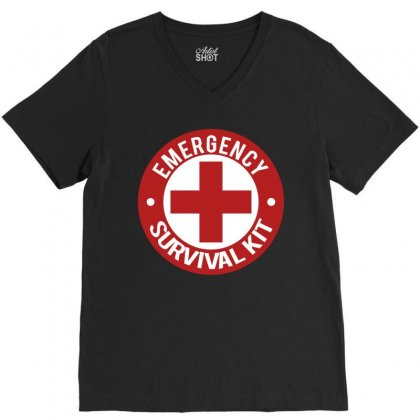 Emergency Survival Kit V-neck Tee Designed By Tribebol