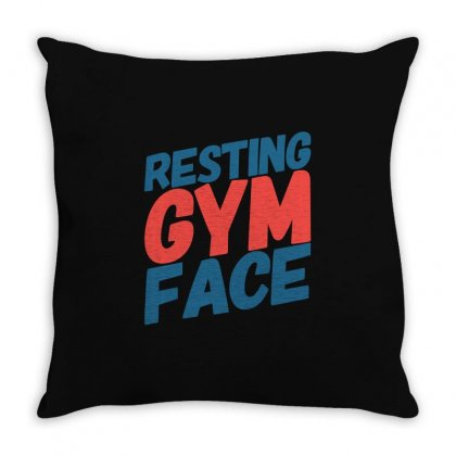Resting Gym Face Throw Pillow Designed By Tribebol