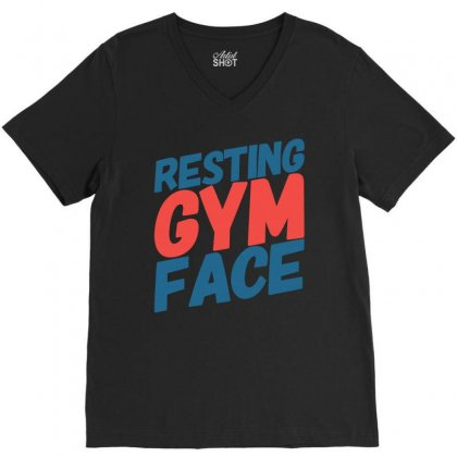Resting Gym Face V-neck Tee Designed By Tribebol