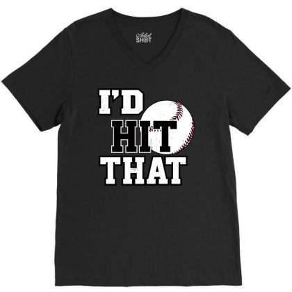 I Hit That Baseball V-neck Tee Designed By Tribebol