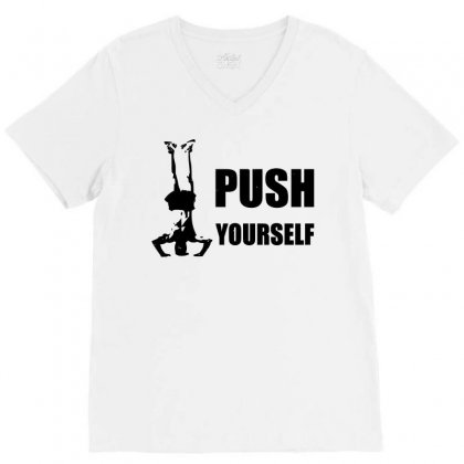 Push Yourself V-neck Tee Designed By Tribebol