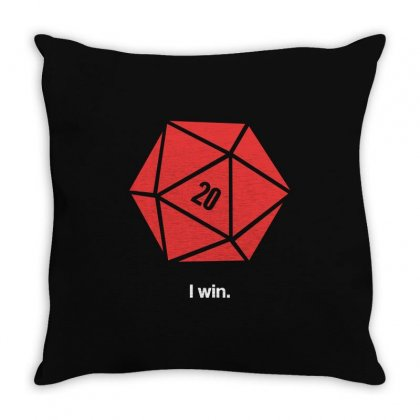 I Win D20 Throw Pillow Designed By Tribebol