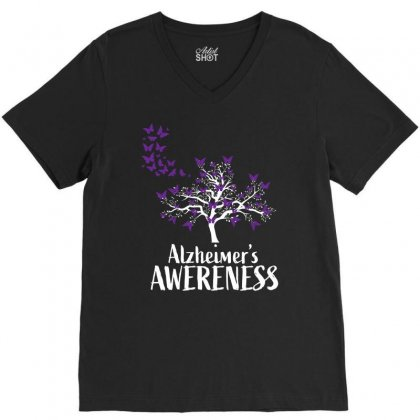 Alzheimers Awareness Support V-neck Tee Designed By Omer Acar