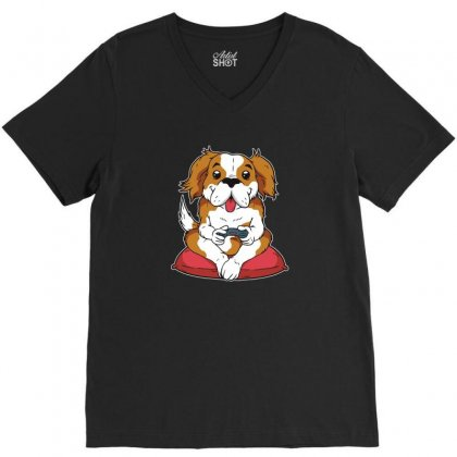 Dog Gamer V-neck Tee Designed By Disgus_thing