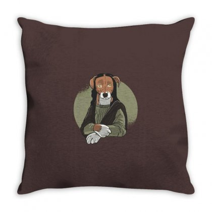 Dog Mona Throw Pillow Designed By Disgus_thing
