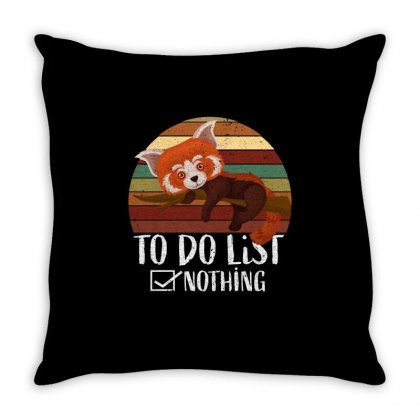 Red Panda   Lazy To Do List Throw Pillow Designed By Omer Acar