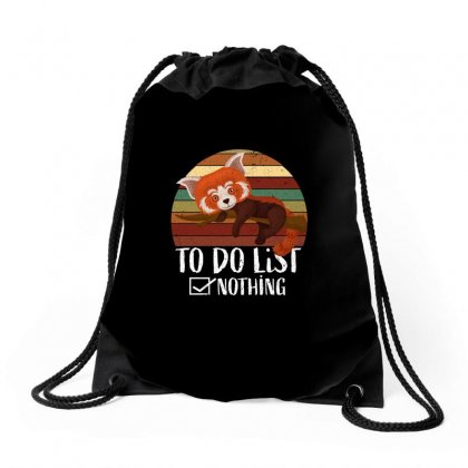 Red Panda   Lazy To Do List Drawstring Bags Designed By Omer Acar