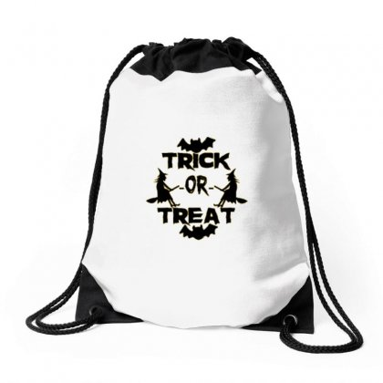 Trick Or Treat Halloween T-shirt Drawstring Bags Designed By Hamzaberr