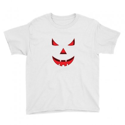 Scary Pumpkin Face Youth Tee Designed By Emardesign