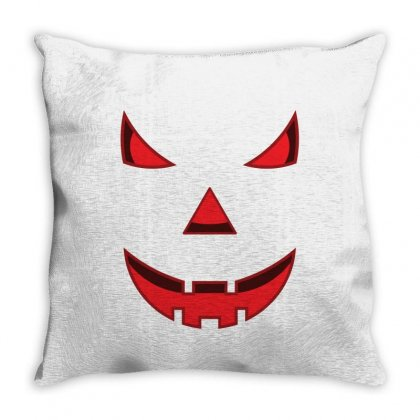 Scary Pumpkin Face Throw Pillow Designed By Emardesign