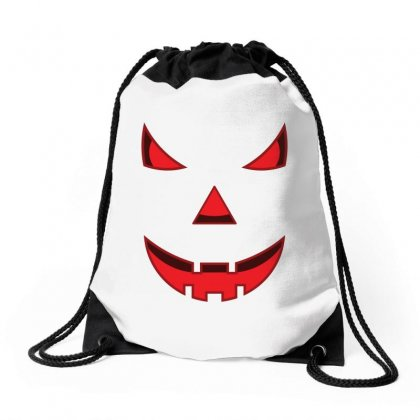 Scary Pumpkin Face Drawstring Bags Designed By Emardesign