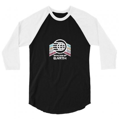 Earth With Distressed Logo 3/4 Sleeve Shirt Designed By Arum