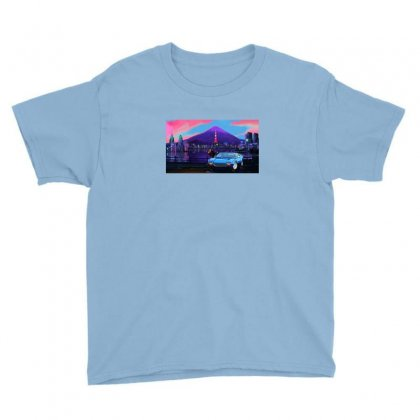 Outrun Retrowave Merch Youth Tee Designed By Arum