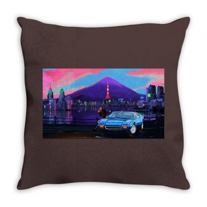 Outrun Retrowave Merch Throw Pillow Designed By Arum