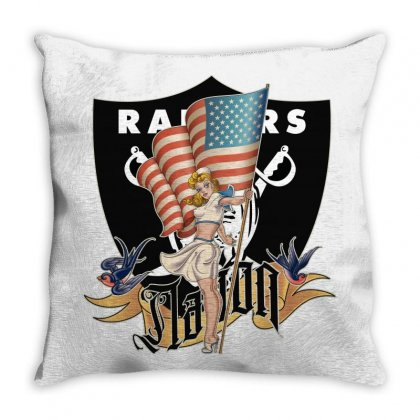 Raiders Nation Throw Pillow Designed By Tiococacola