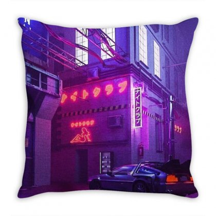 Outrun Retrowave Merch Throw Pillow Designed By Agus Loli
