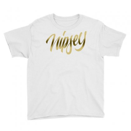 Nipsey Hussle Gold Youth Tee Designed By Shadowart