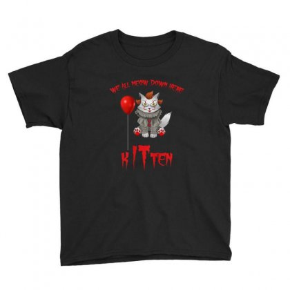 We All Meow Down Here Clown Kitten Halloween Youth Tee Designed By Kakashop