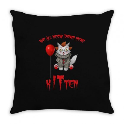 We All Meow Down Here Clown Kitten Halloween Throw Pillow Designed By Kakashop