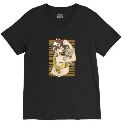 Bulldog V-neck Tee Designed By Disgus_thing