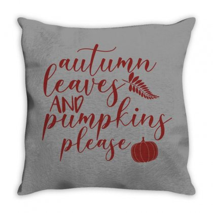 Autumn Leaves And Pumpkins Please Throw Pillow Designed By Seda