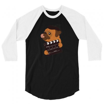 Pug Director 3/4 Sleeve Shirt Designed By Disgus_thing