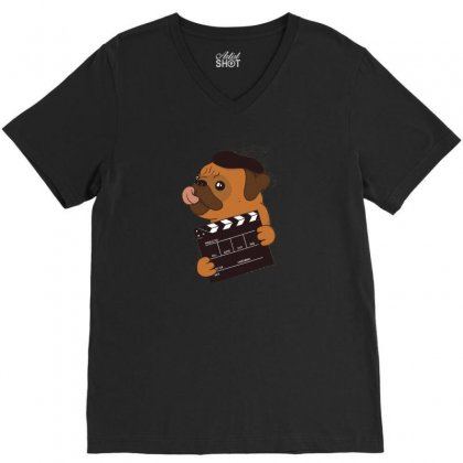 Pug Director V-neck Tee Designed By Disgus_thing