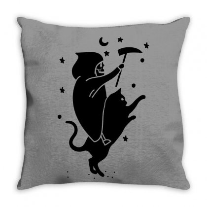 Death Rides A Cat For Light Throw Pillow Designed By Seda
