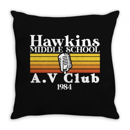 Hawkins Middle School Av Club For Dark Throw Pillow Designed By Seda