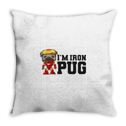 Iron Pug Throw Pillow Designed By Disgus_thing