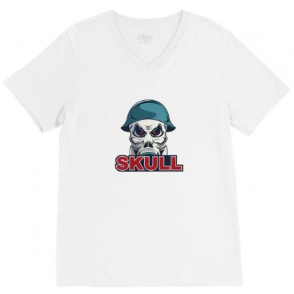 Military Skull V-neck Tee Designed By Disgus_thing