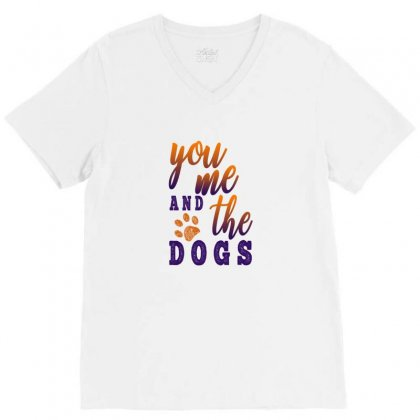 You Me And The Dogs V-neck Tee Designed By Gurkan