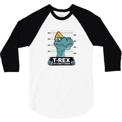 Cool T Rex Dinasour 3/4 Sleeve Shirt Designed By Disgus_thing