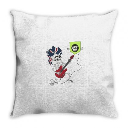 Guitarist Skeleton Throw Pillow Designed By Disgus_thing